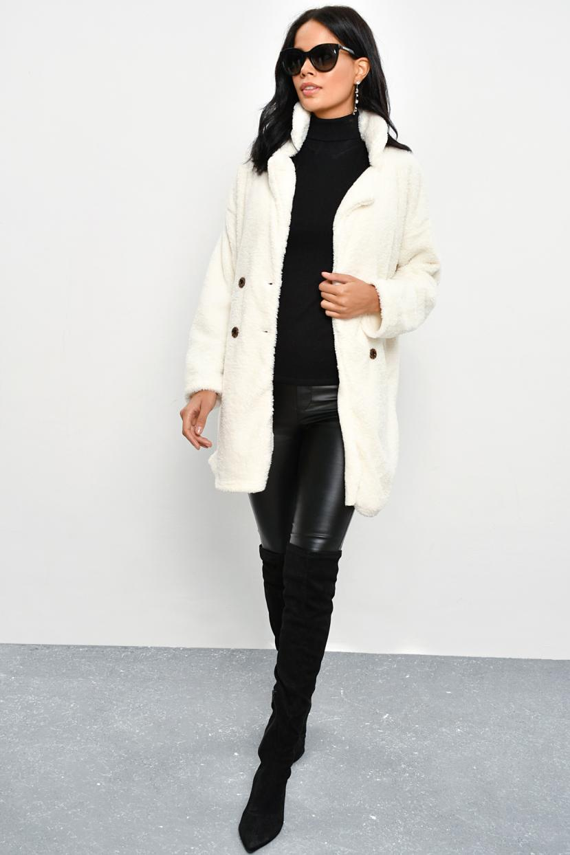 Women's Ecru Plush Coat