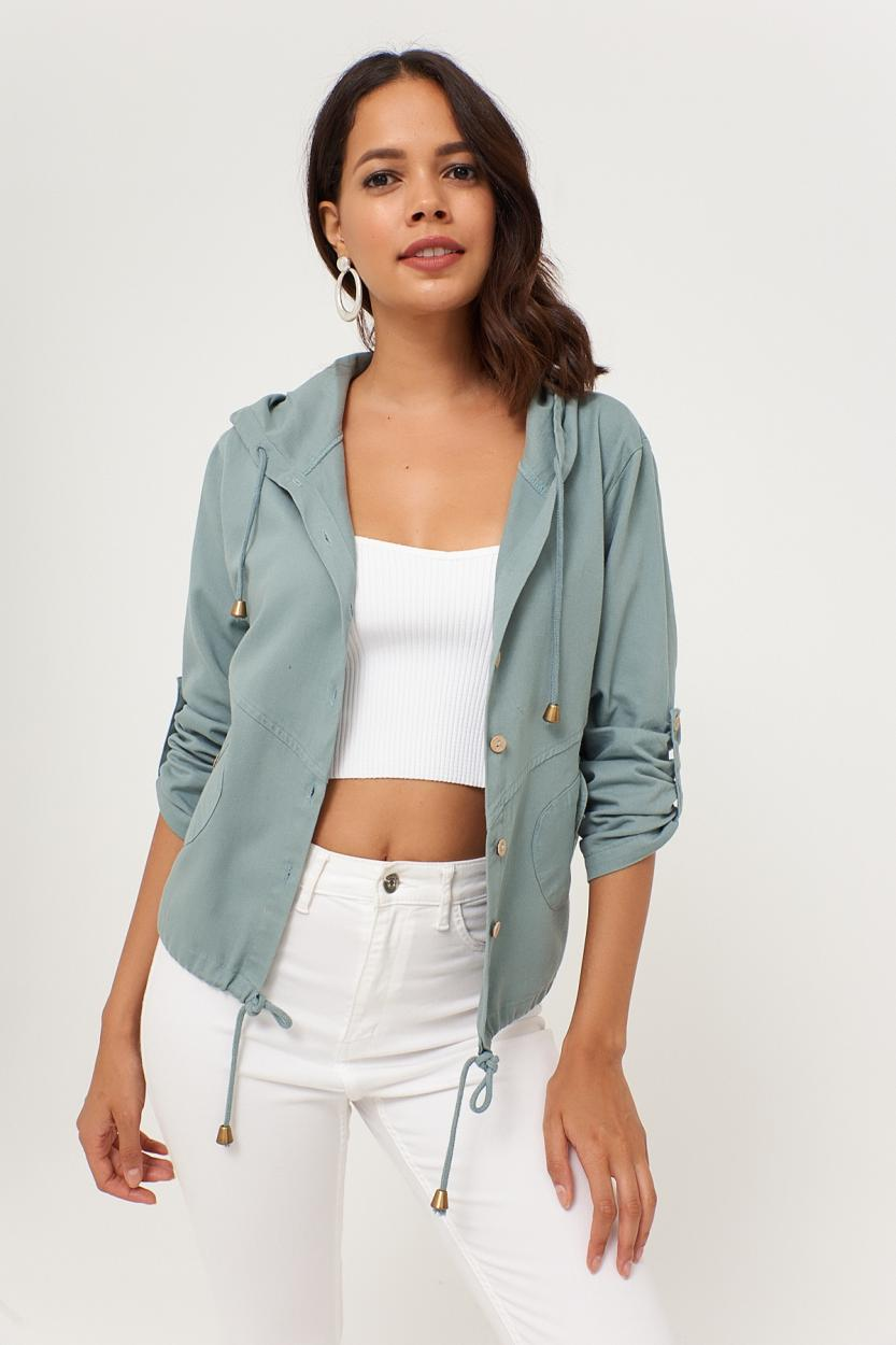 Women's Hooded Mint Green Jacket