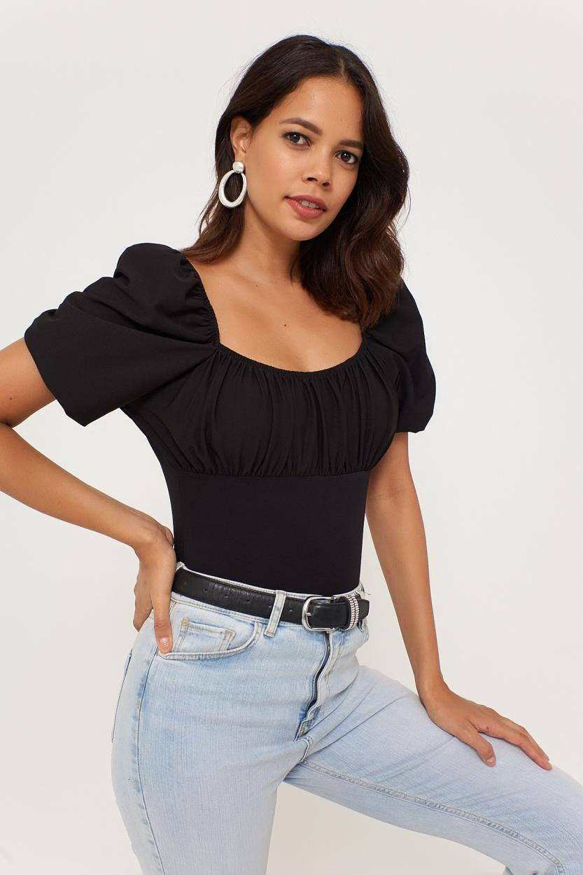 Women's Balloon Sleeves Black Blouse