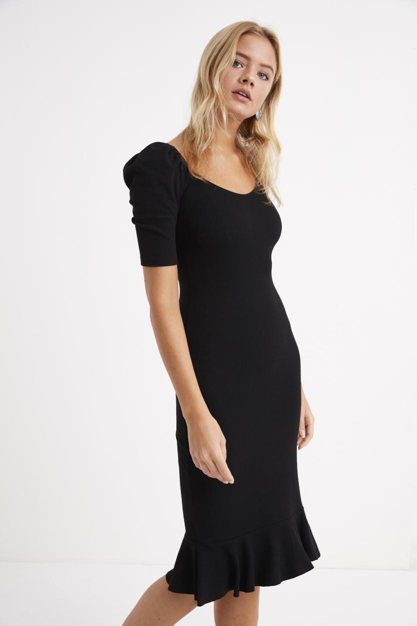 Women's Balloon Sleeve Ruffle Hem Black Rib Midi Dress