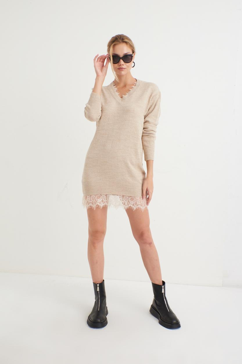 Women's Lace Detail Beige Tricot Tunic / Dress
