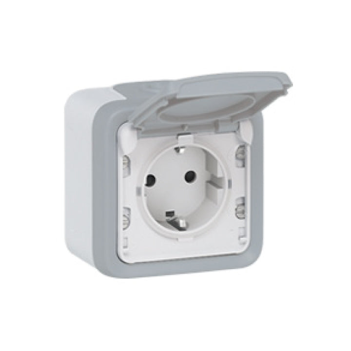 Plexo IP55 socket outlet  - German standard - 16 A - 2P+E - Surface mounting - Grey -...