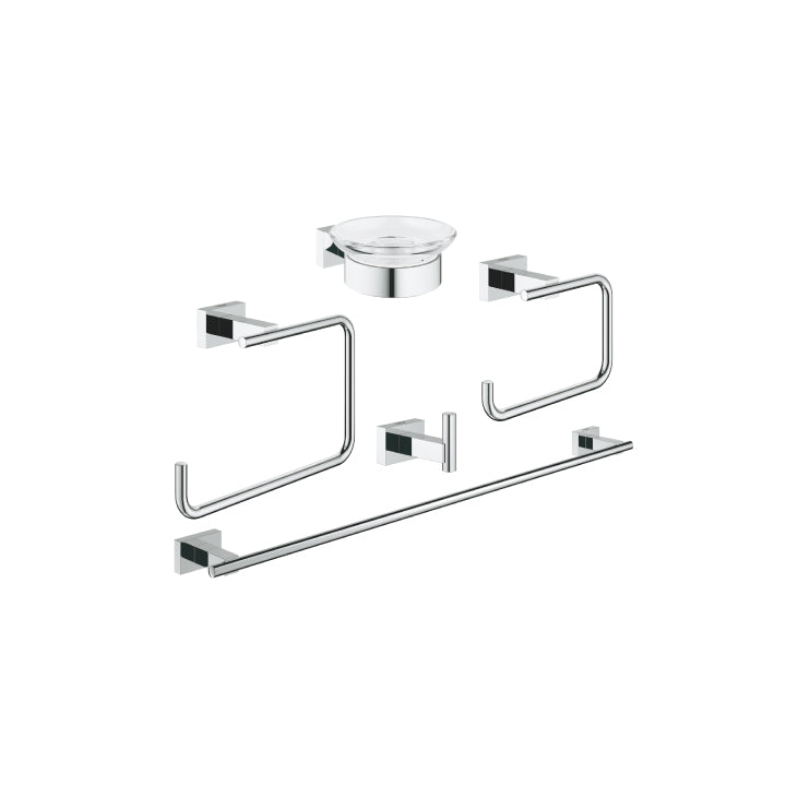 Grohe 'Essentials cube' Master Bathroom accessories set 5-in-1 in Chrome