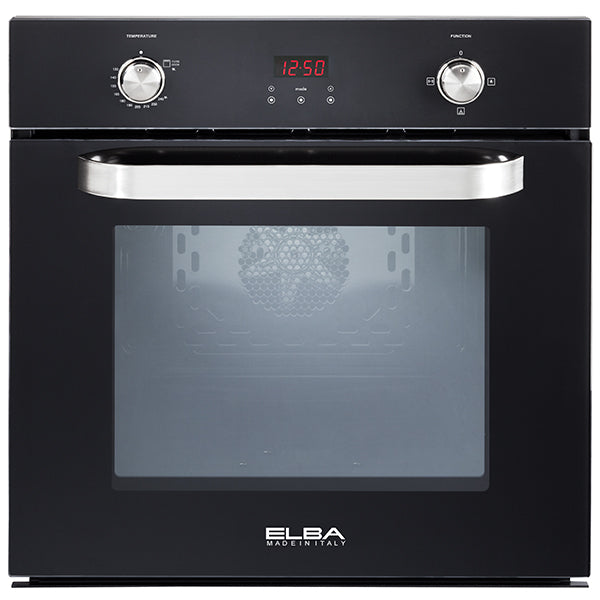 Elba 60 cm Fan Gas Oven With Grill And Rotisserie in Black Glass