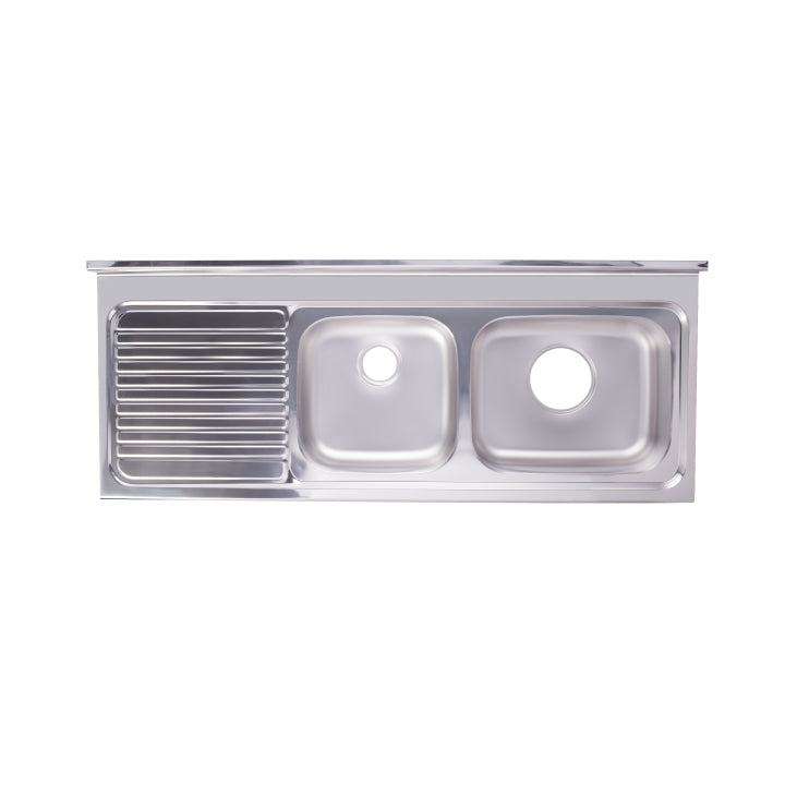 Hans - Stainless steel kitchen sink - 2 bowls with Drainboard - Right/Left 1500 x 600...