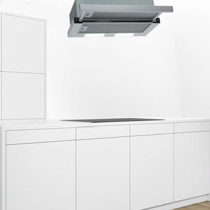 Elba 90cm Built-in Telescopic Hood in Silver