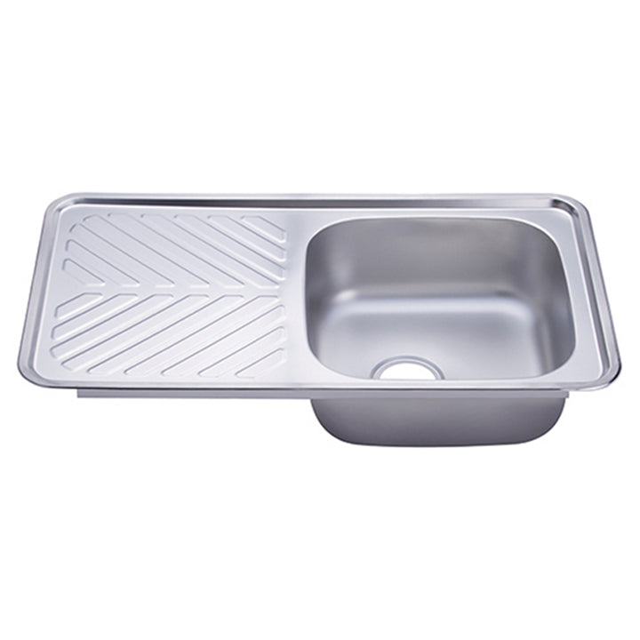 Hans - Stainless steel kitchen sink with drainboard & soap dispenser  870 x 480 mm