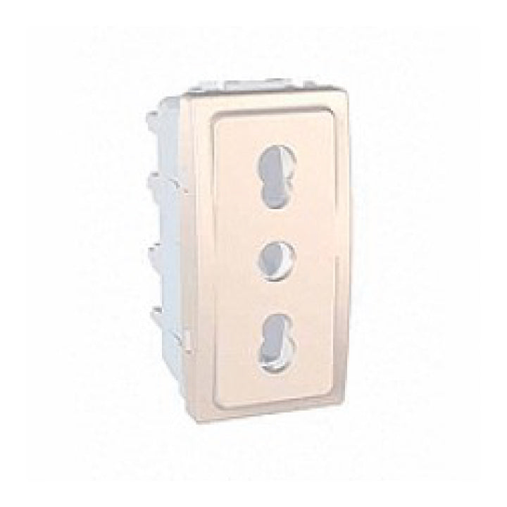 Schneider Electric 'Unica' 1-Module 2P+E Italian IT Socket Outlet with Shutters in Ivory