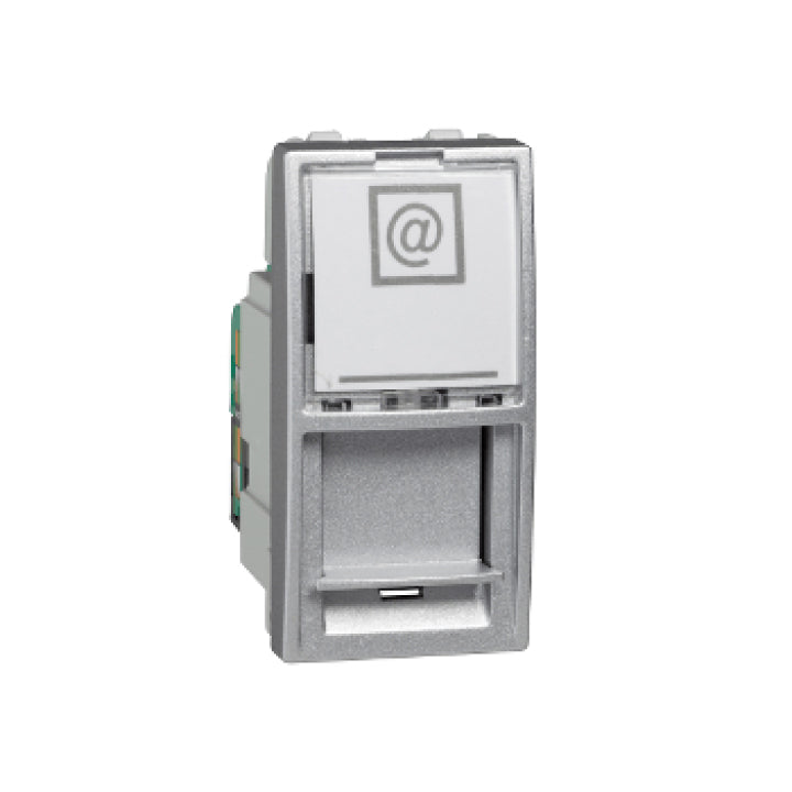 Schneider Electric 'Unica Top/Class' Cat.5e UTP RJ45 Socket with 1 Module in Aluminium