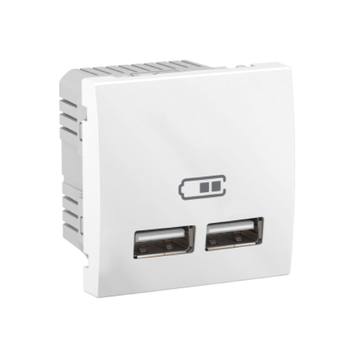 Schneider Electric 'Unica' 2.1 A Double USB Charger in White