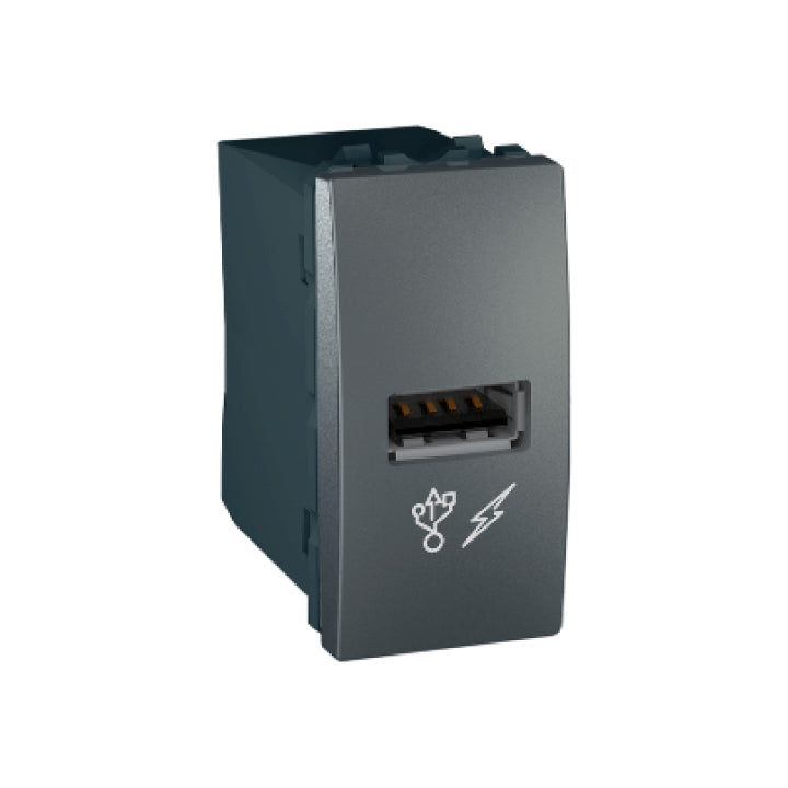 Schneider Electric 'Unica' USB Charger in Graphite