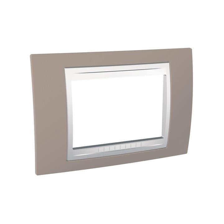 Schneider Electric 'Unica Plus' Cover Plate 3 Modules in Mink White