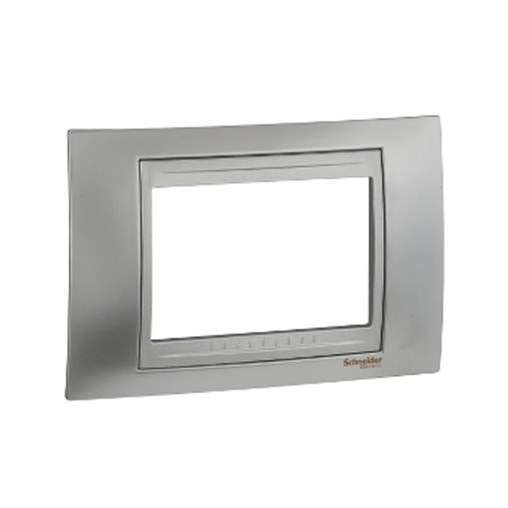 Schneider Electric 'Unica Top' Cover Plate 3 Modules in Glossy chrome Aluminium