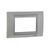 Schneider Electric 'Unica Top' Cover Plate 3 Modules in Matt Nickel Aluminium