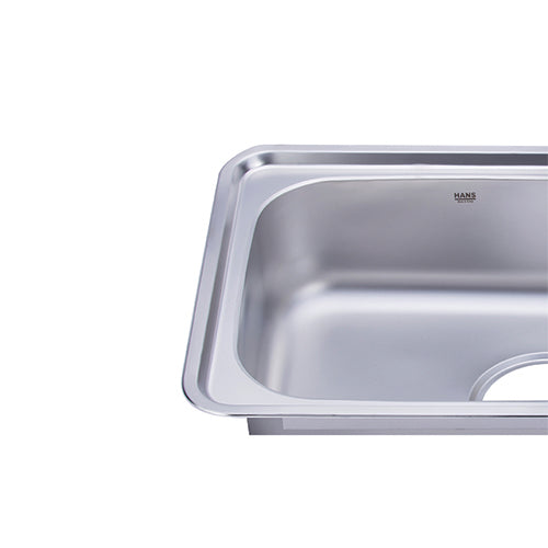 Hans - Stainless steel kitchen sink - 2 bowls with mixer  100 x 48cm