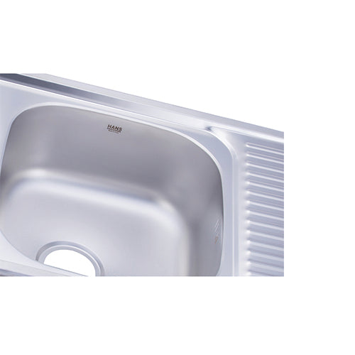 Hans - Stainless steel kitchen sink - 2 bowls with drainboard & mixer  1100 x 480 mm