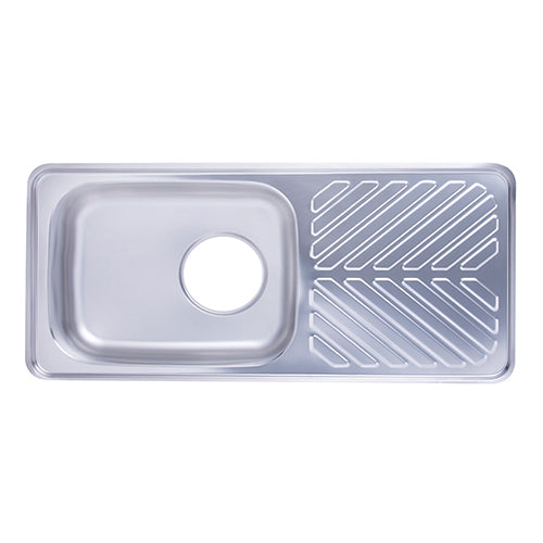 Hans - Stainless steel kitchen sink with drainboard 480 x 100 mm