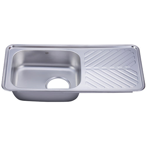 Hans Stainless steel kitchen sink with drainboard 48 x 10cm
