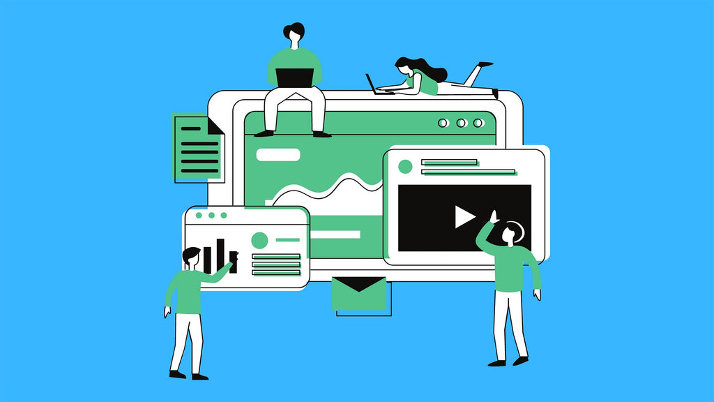 caricature of a digital marketing team creating a content strategy