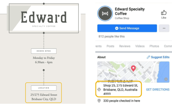 Compare the address of both Facebook and Website address