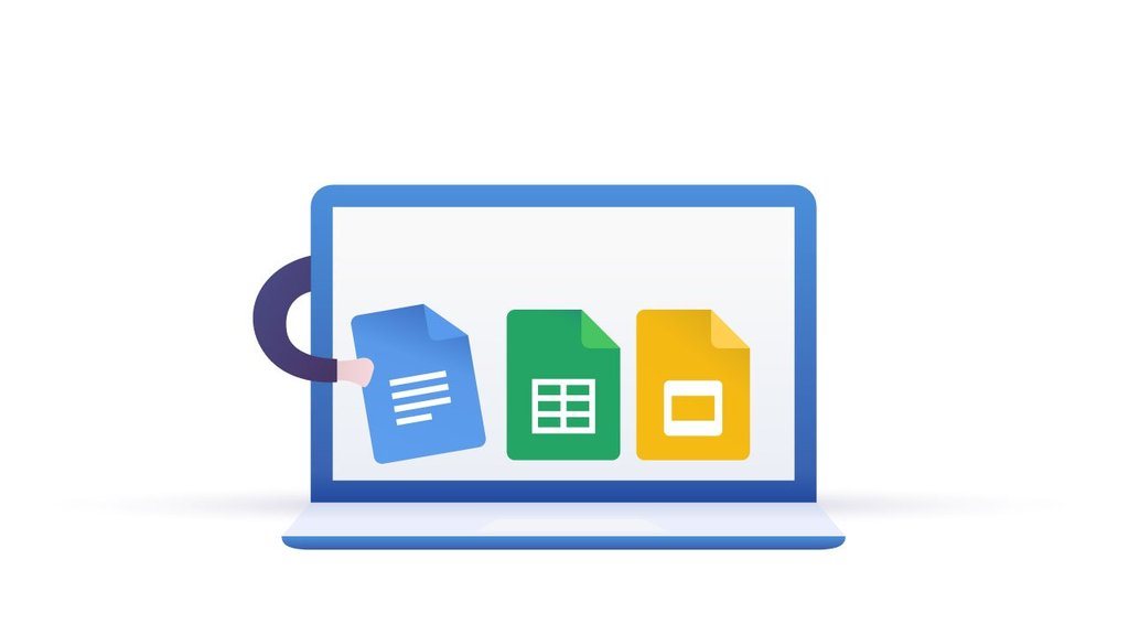 caricature of Google docs, sheets, and slides as free blog post writing tools