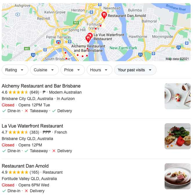 GMB listing for these Brisbane-based restaurants appears on Google SERPs
