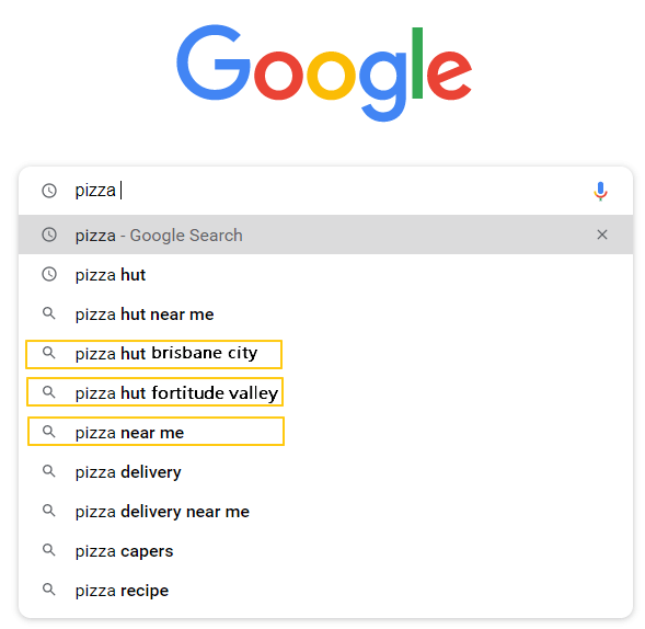 searching pizza on google
