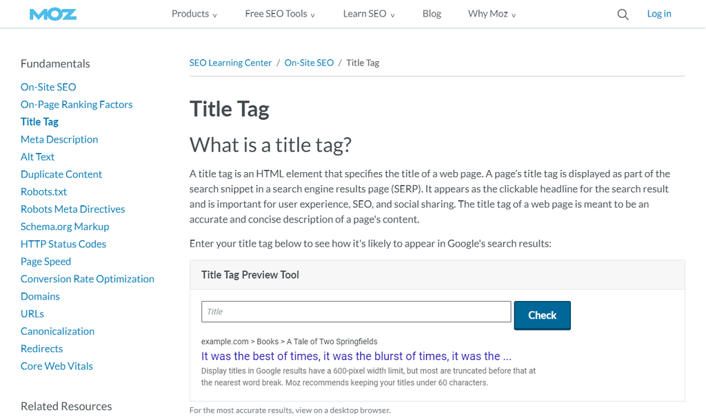 screencap of the Moz Title Tag Checker tool