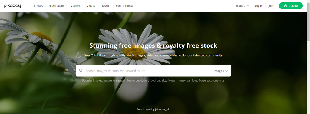 screencap of the free PIxabay search engine