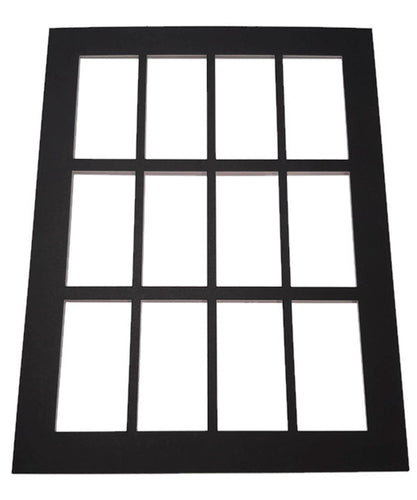 Card Framing Mount for 12 standard sized cigarette cards Black