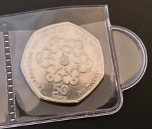 Load image into Gallery viewer, close up view of 50 pence coin in sliding strip album
