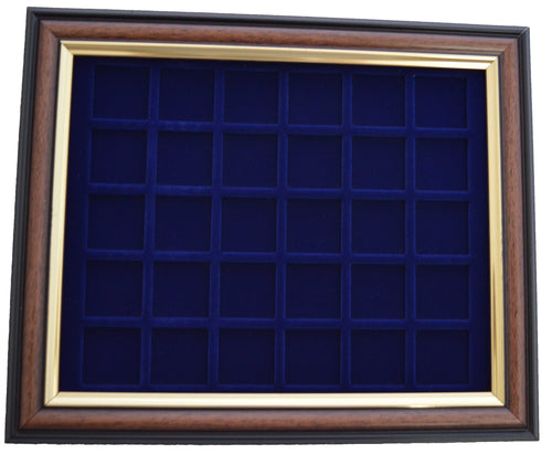 Coin display frame for 50 pence coins Brown & Gold