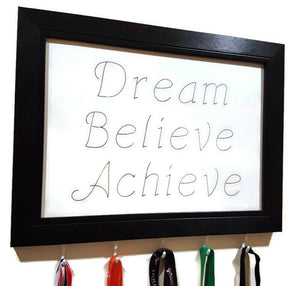 Medal Hanger frame with calligraphy writing Dream Believe Achieve