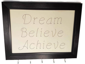 Medal Hanger frame with stylish writing. Dream Believe Achieve