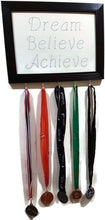 Load image into Gallery viewer, Medal Hanger with calligraphy style writing. Dream Believe Achieve