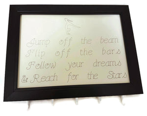 Medal Hanger Frame with Gymnastics calligraphy style writing and image