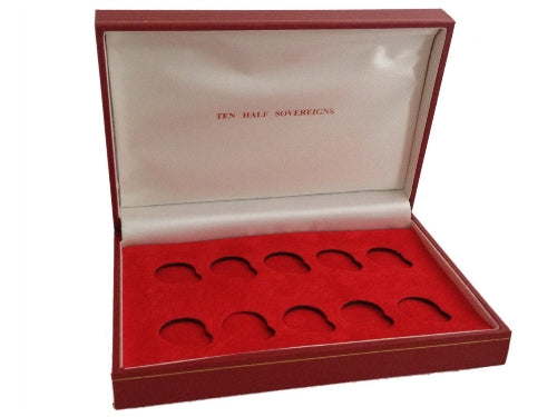 Sovereign Storage box for ten half sovereigns. Red