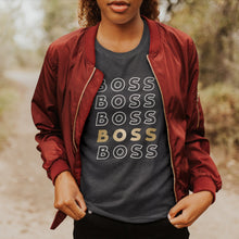 Load image into Gallery viewer, Boss Babe on Repeat Tee (sans)