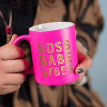 Load image into Gallery viewer, *RTS* Hot Pink and Gold Boss Babe Vibes Coffee Mug