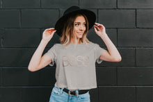 Load image into Gallery viewer, Boss Trendy Metallic Rose Gold Crop Tee