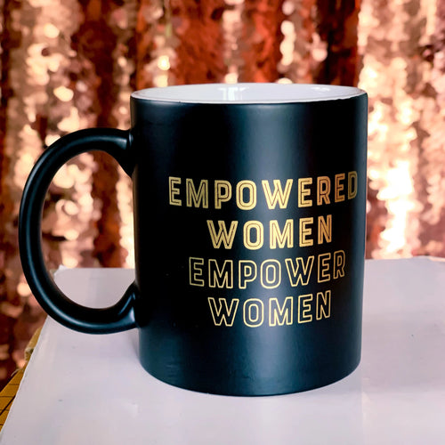 *RTS* Matte Black and Gold Empowered Women Coffee Mug