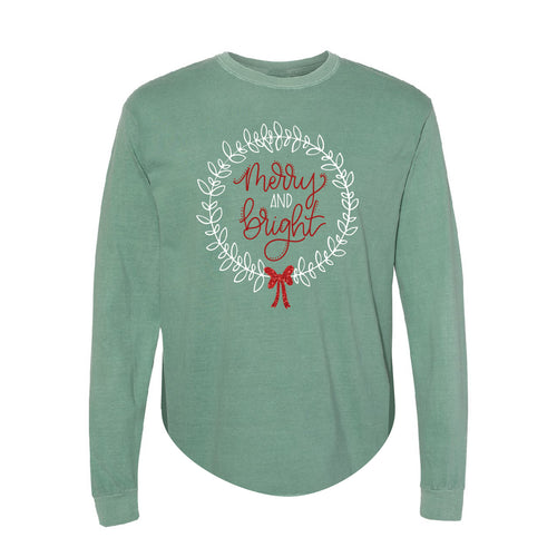 Merry and Bright Green Beefy Long Sleeve Tee