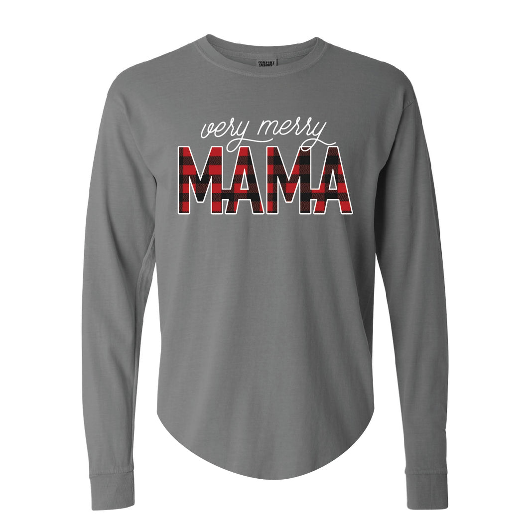 Very Merry Mama Grey Beefy Long Sleeve Tee