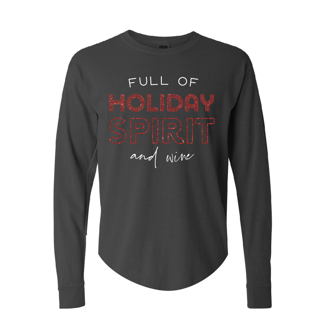 Holiday Spirit Black Beefy Long Sleeve Tee