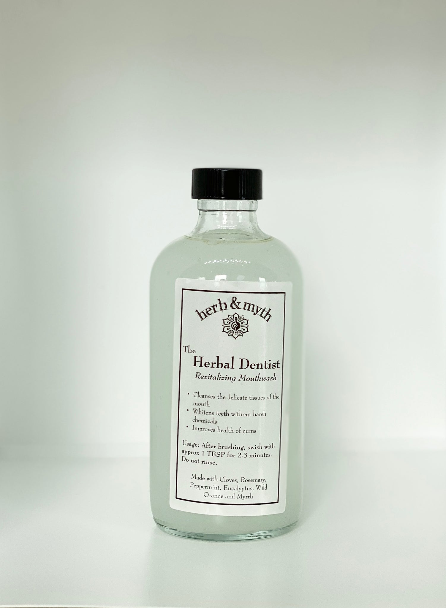 The Herbal Dentist MOUTHWASH (Clear Glass Bottle)
