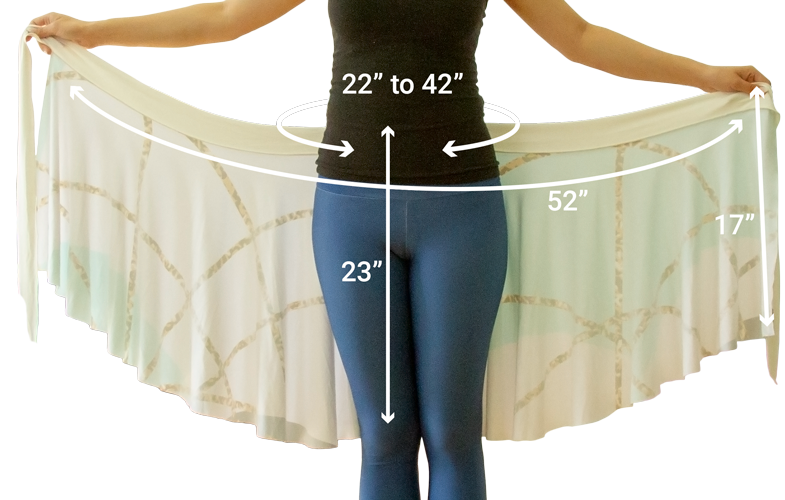 Wrap skirt size diagram