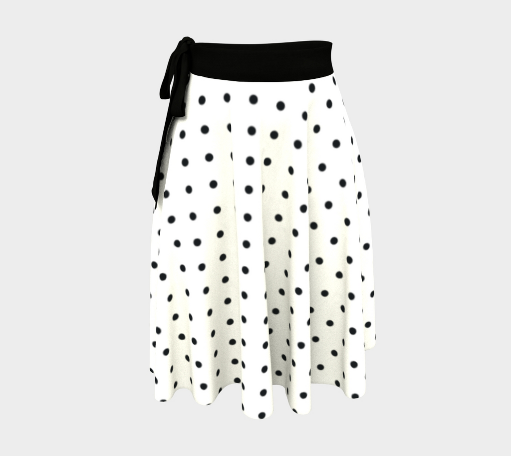 Retro 50s-style wrap skirt - white with black