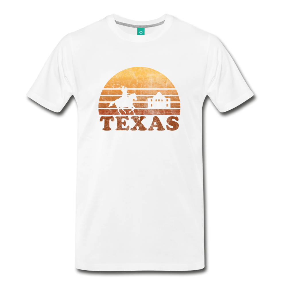 TEXAS state T-shirt: Vintage-style distressed graphic on a premium unisex shirt - white
