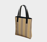 Margaux French dots pattern lined tote bag/purse in mustard & blue