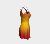 Hollowdot flare dress on hot - Yellow/red gradient